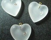 4 Vintage 22mm Clear Frosted Heart Charms or Pendants with Rhinestones