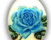 1 Vintage 40x30 Acrylic Blue Rose Cameo