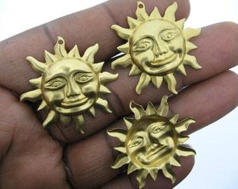 6 Raw Brass Sun Charms