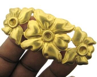 2 Vintage Brass Large Flower Stamping Finding