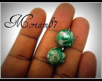 Only 4 sets Left-10 Emerald Matrix 14mm Domed Plastic Cabochon