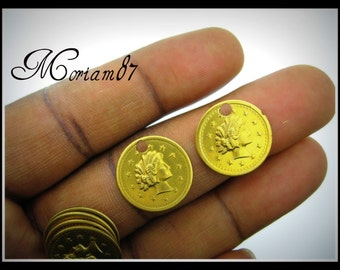 12 Vintage Brass English Coin Charms
