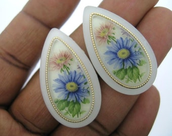Last Set-Sale-2 Vintage Frosted Flower Decal Cabochon