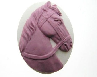 6 40x30 Pink on White Horse Cameo