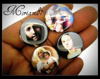 6 Religious 25mm Round Cabochons