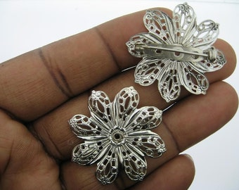 2 Silver Plated 35mm Filigree Pin or Brooch Blank