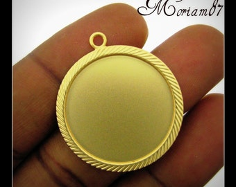 Set of 6 Matte gold Plated 25mm Round Pendant Settings