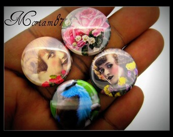 NEW- 6 Vintage Inspired Spring Themed 25mm Cabochons