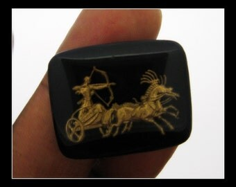 1 Vintage Black and Gold  worrior and chariot Intaglio
