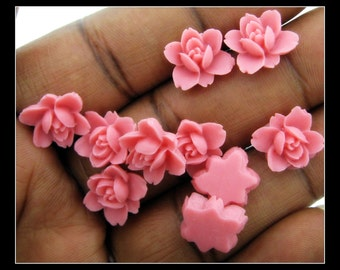 Only 12 Sets in Stock-10 12mm Resin Dark Pink Lotus Cabochons