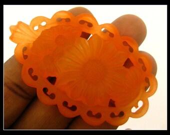 Only 4 in stock-1 Large Vintage Orange German Lucite Pendant