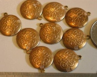 6 Vintage Brass Engraved Disc Charms