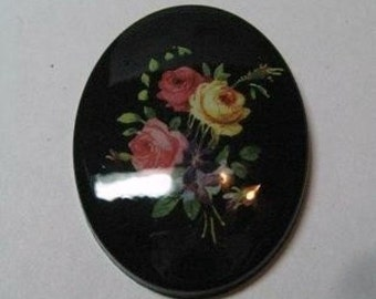 1 40x30mm Darling Black Flower Cameo