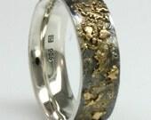 Golden Pebble Ring 8mm wide