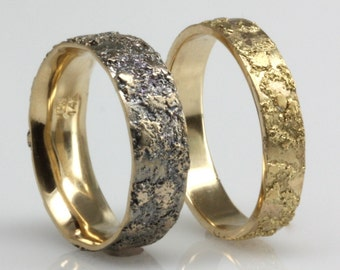 Textured gold wedding ring, 6mm wide.