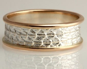 Lizard Skin Ring in Sterling silver and 14k gold
