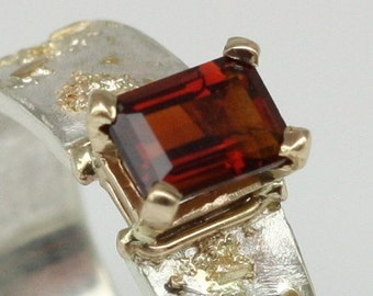 Madeira Citrine Ring, 18k gold and sterling silver