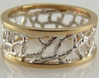 gold and silver fan coral ring