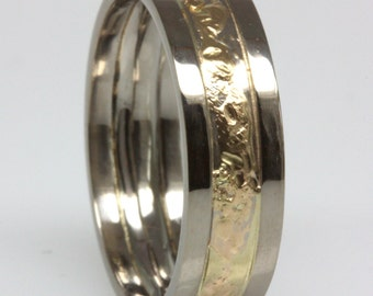 18k white and yellow gold ring size 6.25