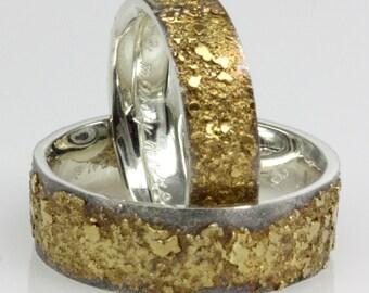 Golden Pebbles Ring 6mm wide