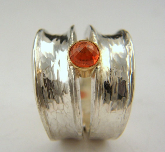orange sapphire, sterling silver, hand-made ring