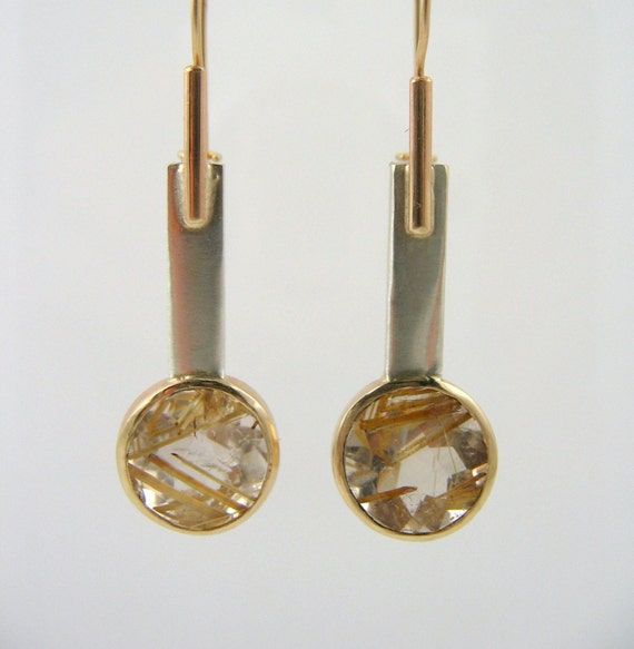 14k gold, rutilated quartz earrings