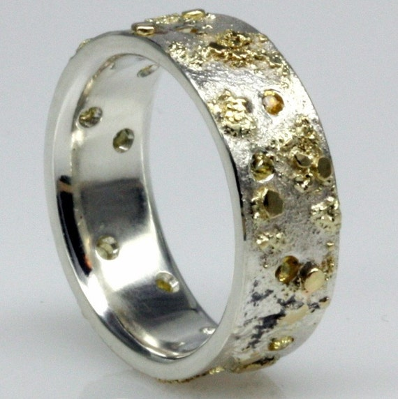 Yellow Sapphire, 18k Gold , one of a kind Sterling Silver Ring