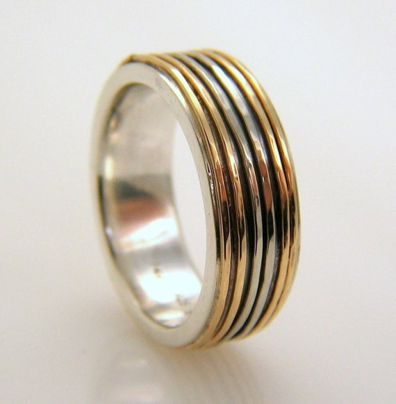 silver and 14k gold sparkle ring