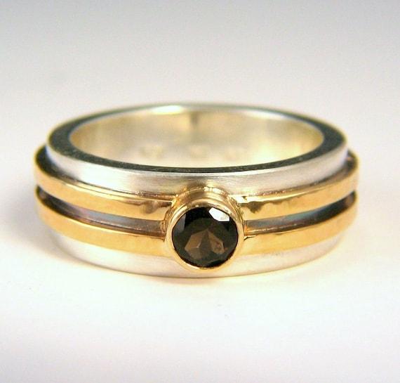 14k gold smoky quartz mans ring