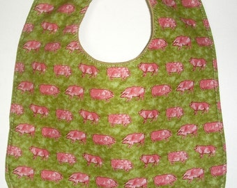 Pink Pigs All in a Row Baby / Toddler Bib