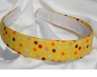 Yellow Polka Dot Headband