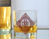 Custom monogram, screen printed glassware, old fashioned