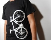 SALE - Medium - Vital Bicycle - unisex tshirt, black and white