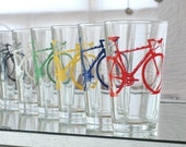 SUPER BIKE PARTY - screen printed bicycle pint glasses, set of 4