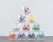 The whole lot - screen printed bicycle old fashioned  glasses, set of 10
