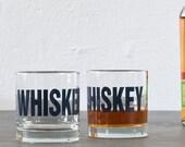 WHISKEY - hand printed rocks glasses, set of 4