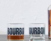 BOURBON - hand printed rocks glasses, set of 4