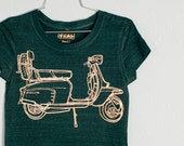 Small - Scooter - women's tri blend tshirt, gold foil on emerald