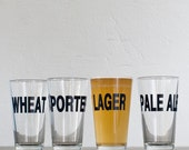 Classic beers - 4 hand printed pint glasses - dark charcoal - Lager Porter Wheat and Pale Ale