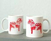 Dala horse - hand printed coffee mug - vital