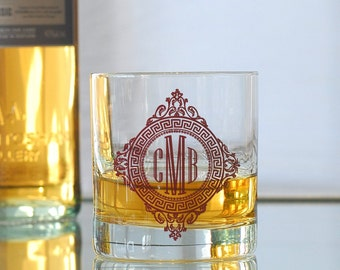 Custom monogram, screen printed glassware, old fashioned