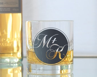 Custom round monogram, screen printed glassware, old fashioned glasses