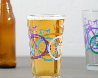 TEST PRINT bike pint glasses, multi-colored bicycles,  mountain / tandem / cruiser / wheelie / road bikes