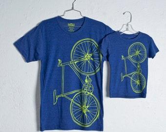 like father, like son FIXIE TSHIRT SET 2 tri-blend bike tees, lime green bicycle on indigo blue