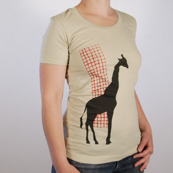 Sale - Small - Giraffe - women's summer tee, olive and red on sage