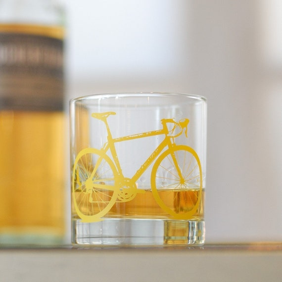 Vital Bicycle, screen printed glassware, yellow bike, set of 4 old fashioned glasses
