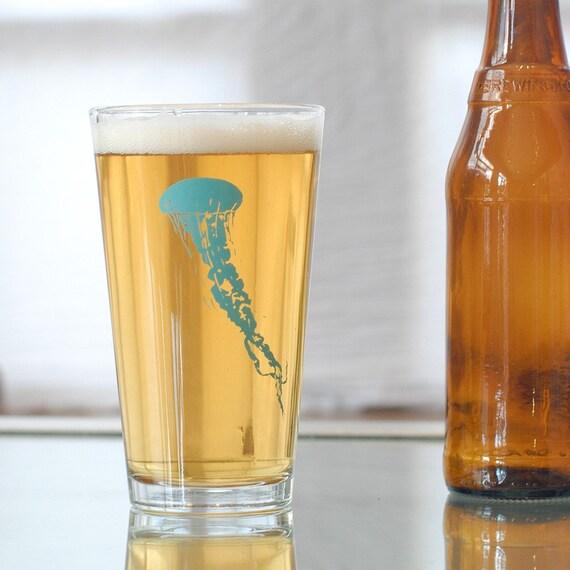 Jellyfish, screen printed glassware, turquoise set of 4 pint glasses