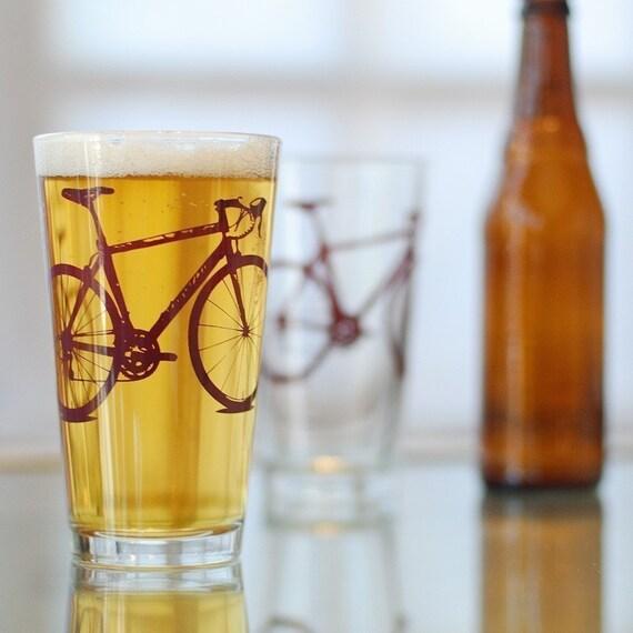 Vital Bicycle, screen printed glassware, Burgundy, set of 4 pint glasses