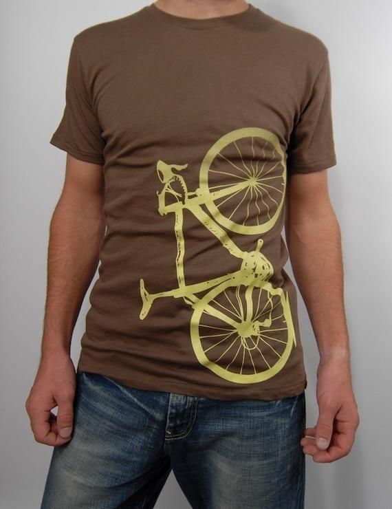 organic cotton bicycle shirt - chocolate and lemon, small