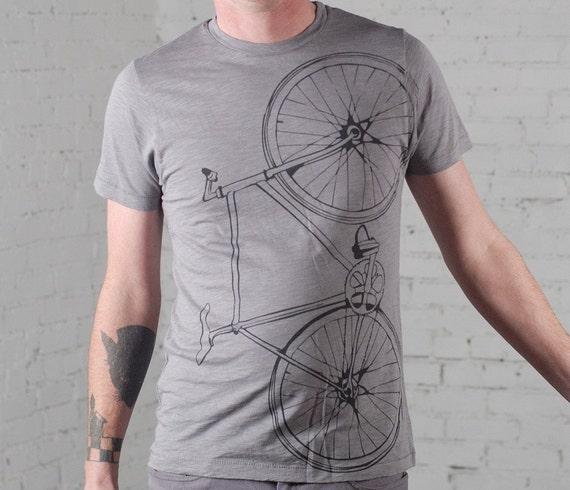 SALE - last extra small - Fixie bike - Men's cotton bicycle tee, elephant gray